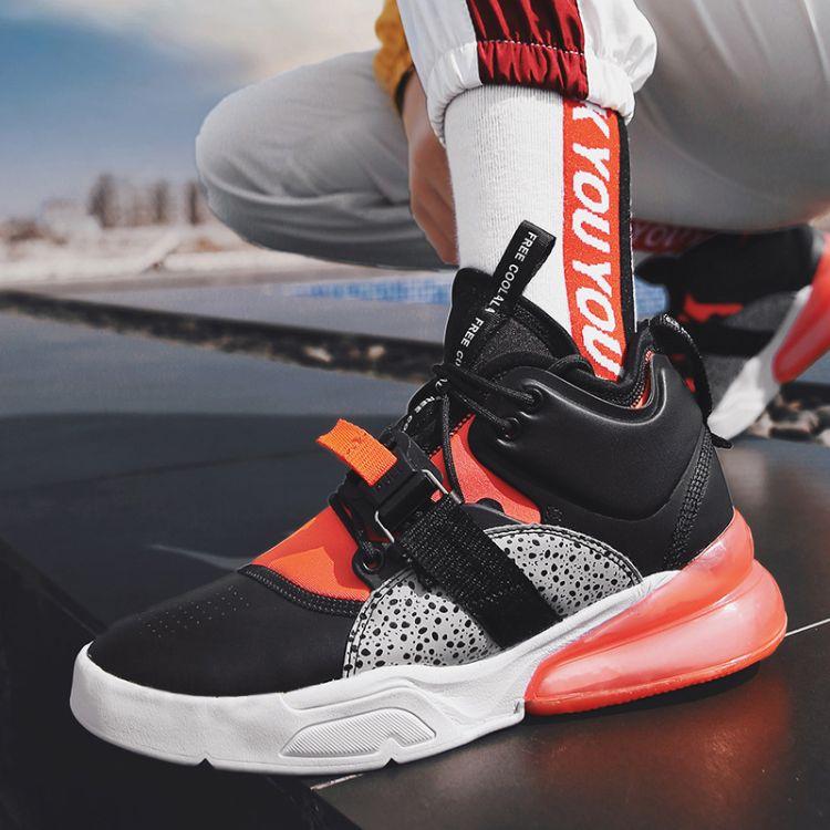 男士运动跑步鞋 2018新款组合底跑步运动鞋 斑点撞色气垫跑步鞋