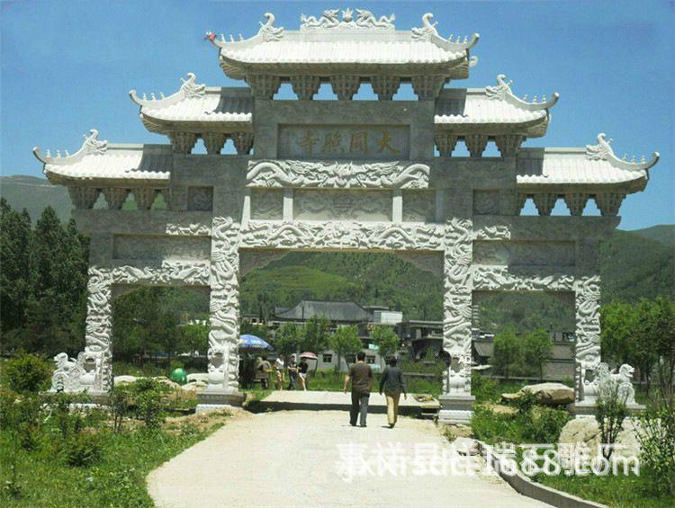 嘉祥祥瑞石雕厂供应景观牌楼 批发可来图订做景观别墅石牌楼