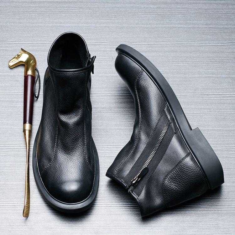 软底商务休闲高帮皮鞋百搭马丁靴男中帮韩版男靴子冬季加毛雪地靴