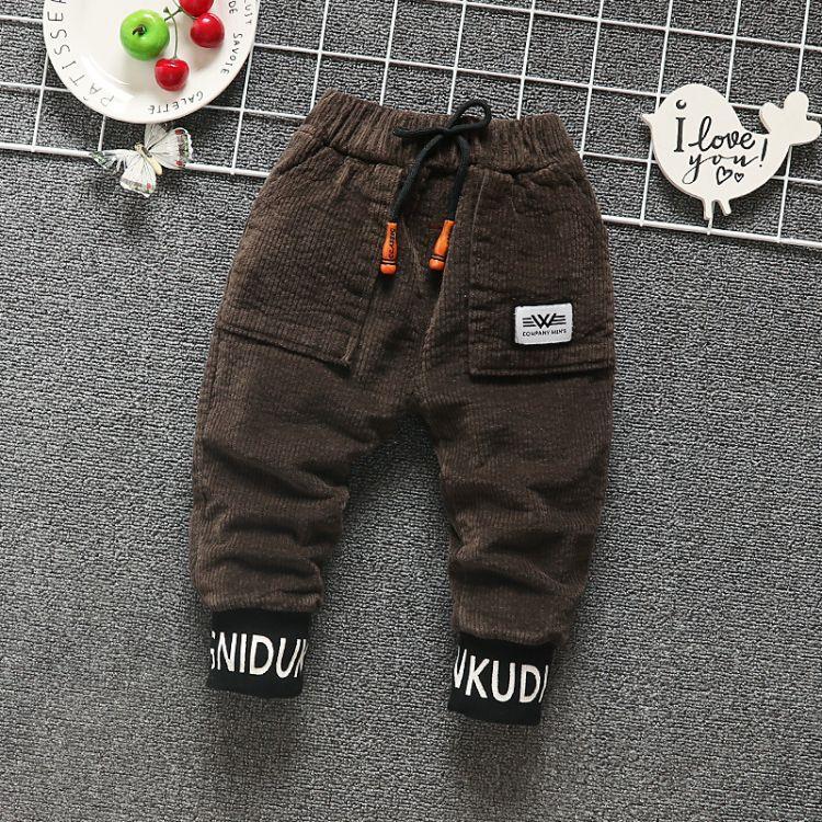 新款高档童装 灯芯绒加绒休闲裤1-5岁儿童裤子韩版男童长裤批发