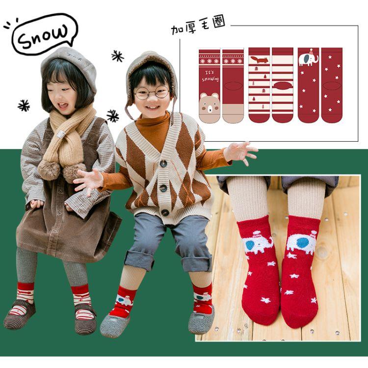 C026儿童袜子批发卓上棉品童袜秋冬新品红色新年男女童加厚毛圈袜