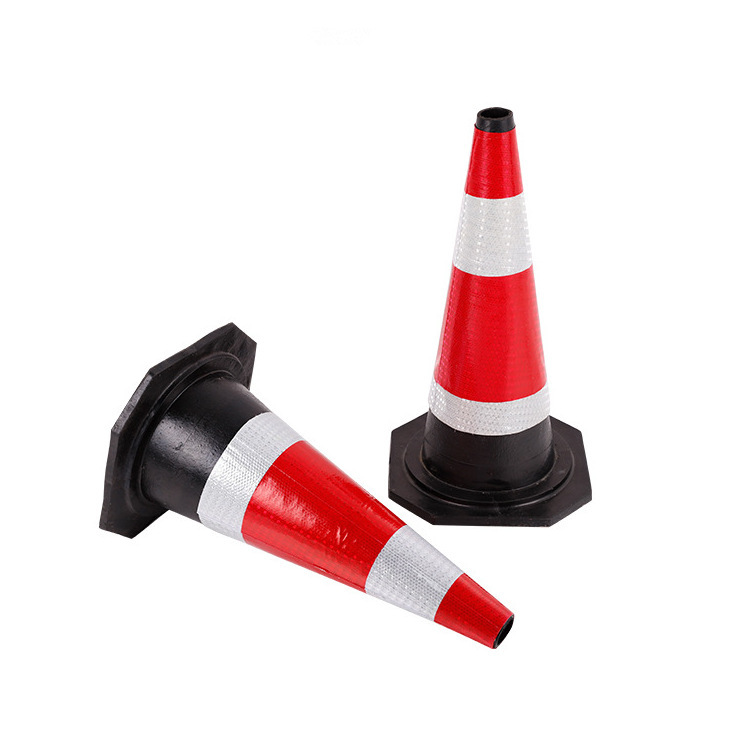 50cm交通设施橡胶路锥方椎 防撞路椎橡胶圆锥 可定制道路反光路锥