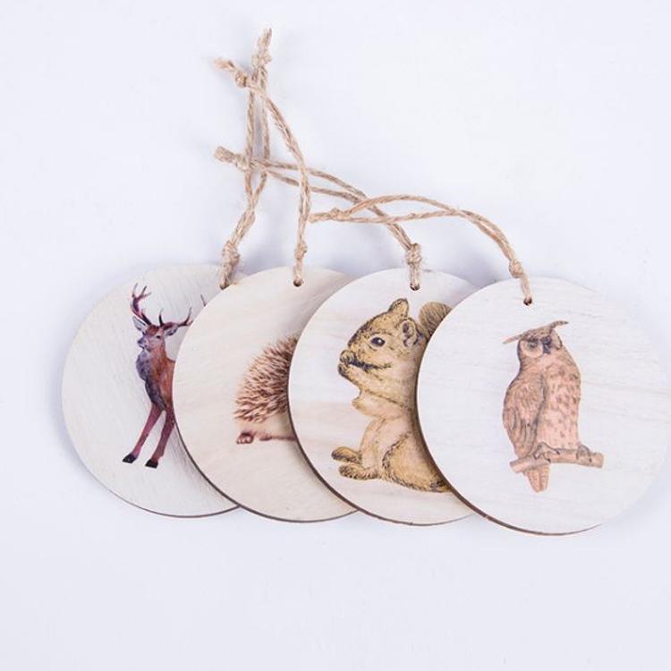 创意家居装饰木质工艺品 激光切割工艺品 四件套挂件 厂家定制