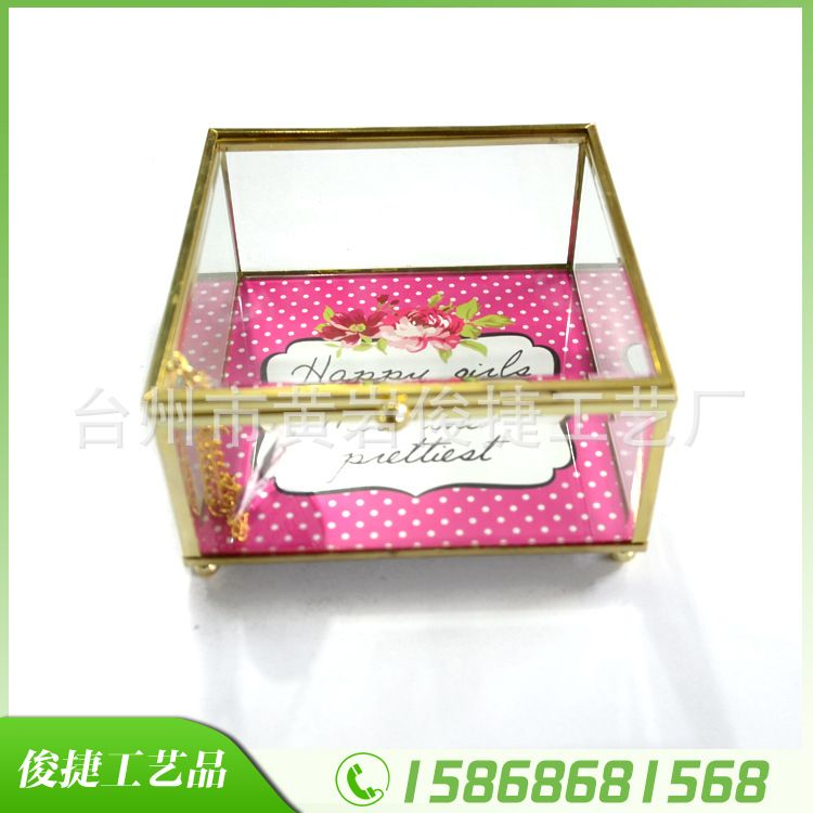 复古金边镜面首饰盒 玻璃珠宝盒 玻璃盒