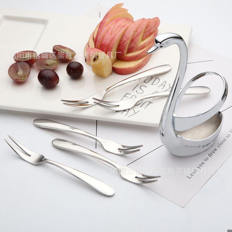 304不锈钢水果叉家居西餐 时尚创意水果叉 点心叉 免费定制LOGO