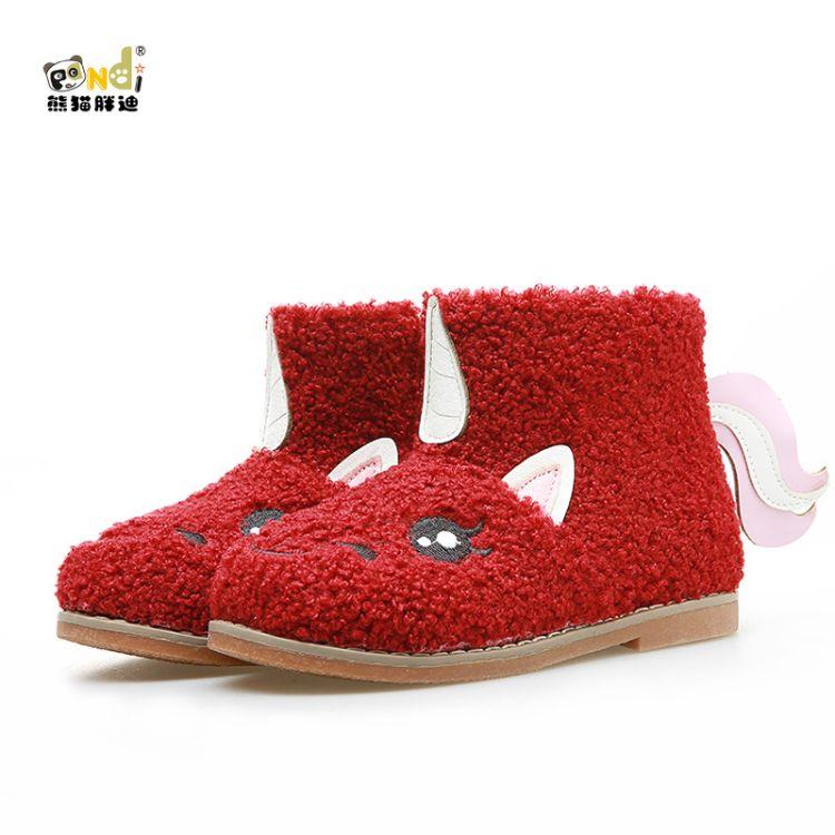 熊猫胖迪2018新款女童靴潮款独角兽宝宝靴加绒保暖中筒靴