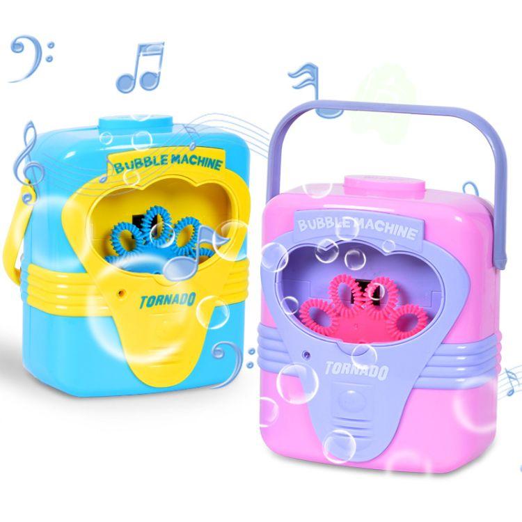 儿童全自动音乐泡泡机电动吹泡泡枪不漏水无毒玩具手提泡泡桶