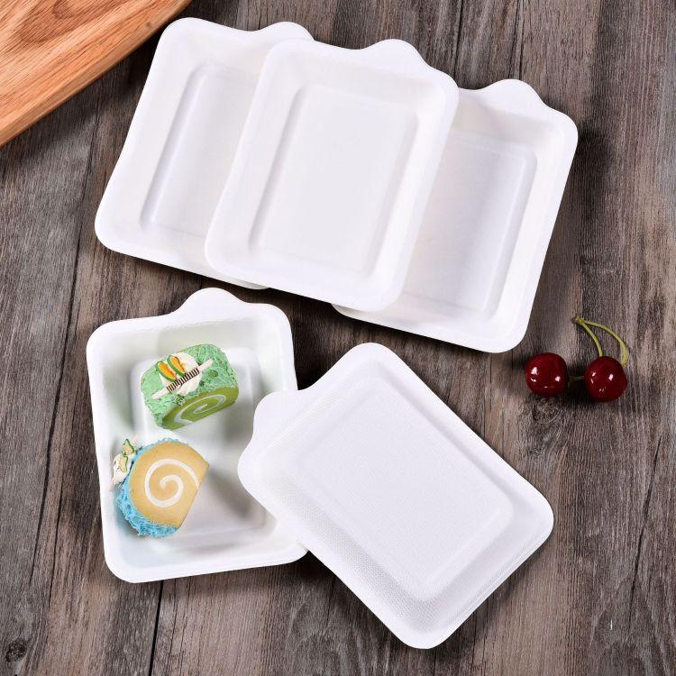 批发长方形款蛋糕盘一次性方形纸盘生日派对纸浆方盘分餐盘出厂价