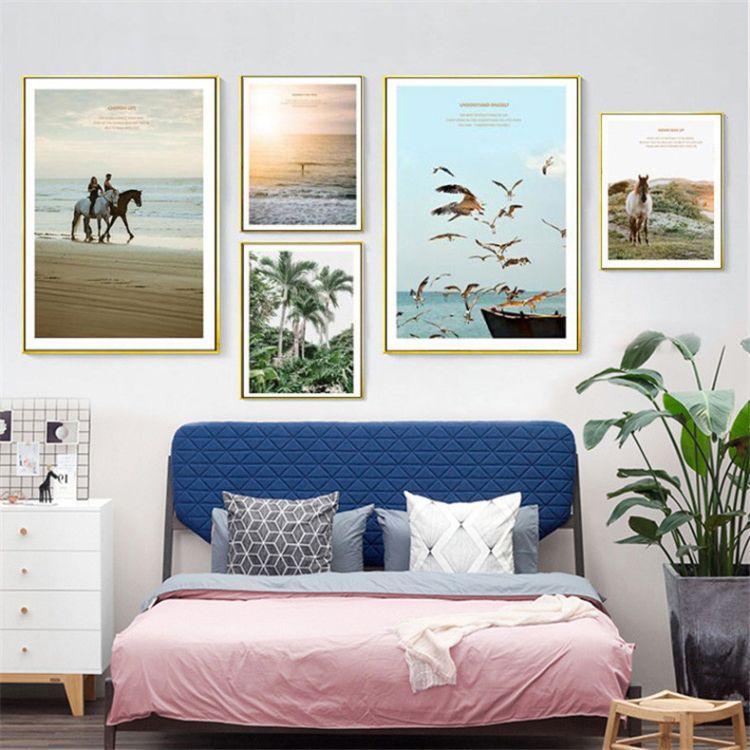 现代简约装饰画沙发背景墙墙画北欧家居有框照片墙壁画组合画挂画