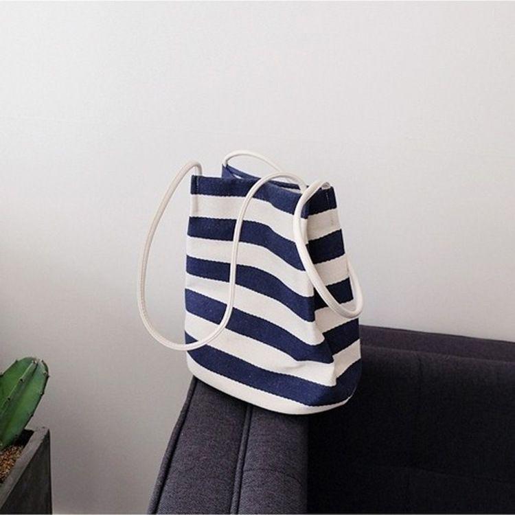 2017韩国官网同款ins爆款包单肩条纹帆布水桶包夏季新款手提女包