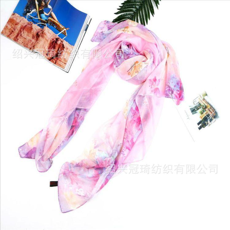 廠家大量現貨批發供應雪紡數碼印花絲巾紗巾披肩