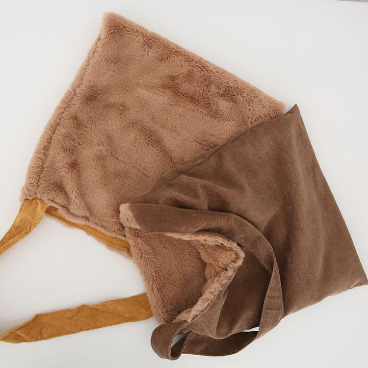 日系兔毛包包2017新款灯芯绒毛绒双面包包单肩斜跨包可爱少女大包