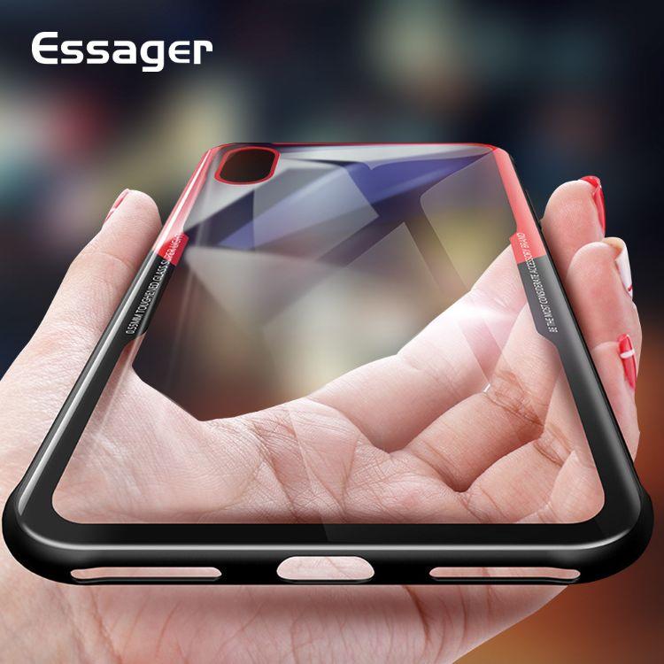 Essager 0.55mm 0.7毫米鋼化玻璃防摔手機殼適用iPhone 8 X XS XR