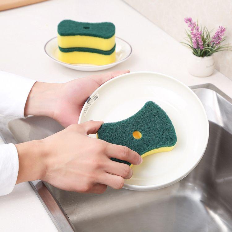 高密含砂海绵 大号腰型洗碗海绵擦 厨房清洁海绵百洁布 神奇海绵