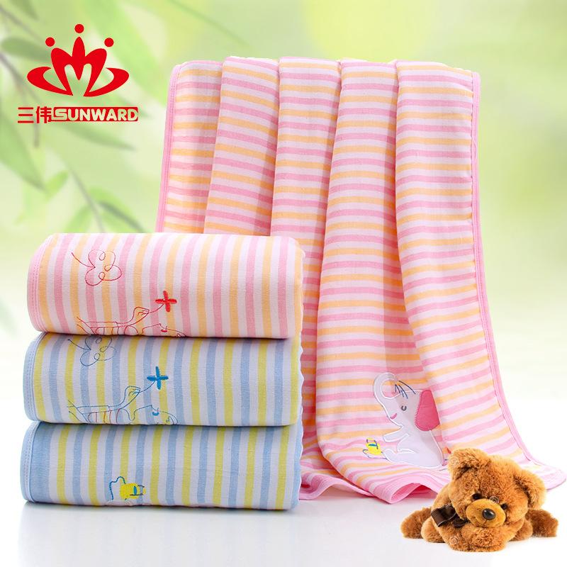 毛巾厂家批发纯棉布艺双层纱布婴幼儿童被浴巾可爱卡通多功能抱被