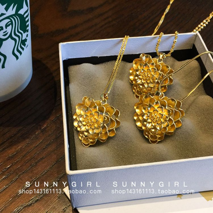 日韩久不掉色镀24K欧币女士水波锁骨项链 越南沙金玫瑰花项链吊坠