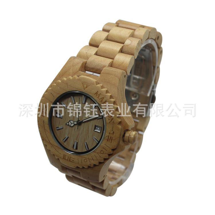 外贸创意木头纯天然实木檀木手表休闲文艺复古日历石英木质木表男