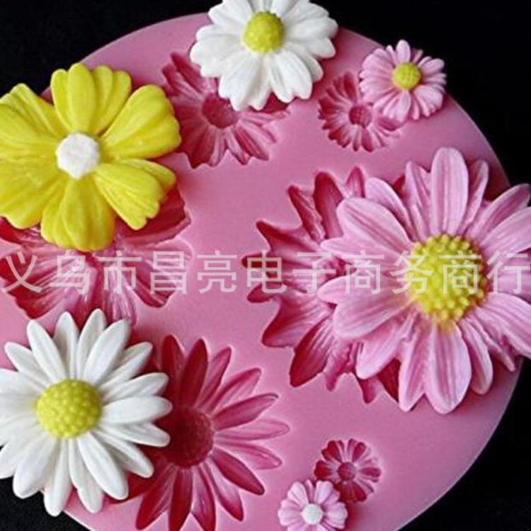 巧克力模具 烘培工具 DIY蛋糕装饰6个小菊花花硅胶翻糖模 粘土模