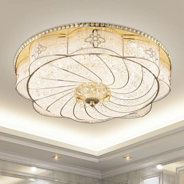 高档圆形吸顶灯卧室灯S金铁艺亚克力拉丝灯LED吸顶灯走廊阳台灯