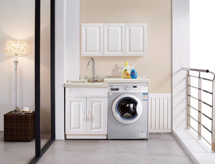 全铝制整体组合定制洗衣储物阳台浴室吊柜 带搓衣板一体水池定做