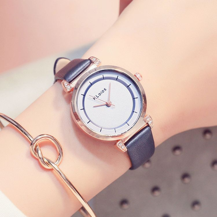 HLoios女款手表时尚镶钻简约女士手表 百塔小女生学生皮带手表