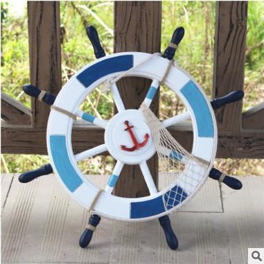 地中海风格装饰摆件挂饰 木质船舵 舵手 实木工艺品 62公分舵手