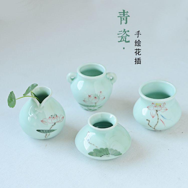 批发 手绘陶瓷小花瓶 花插迷你花瓶创意时尚家居摆件