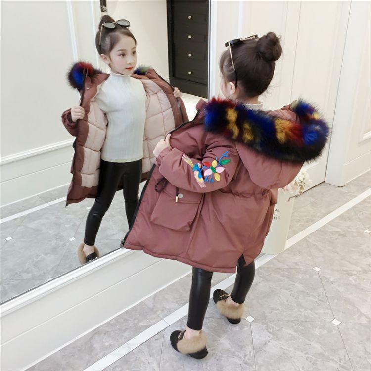 女童棉衣2018新款中长款加厚儿童韩版女孩洋气外套中大童冬装棉服