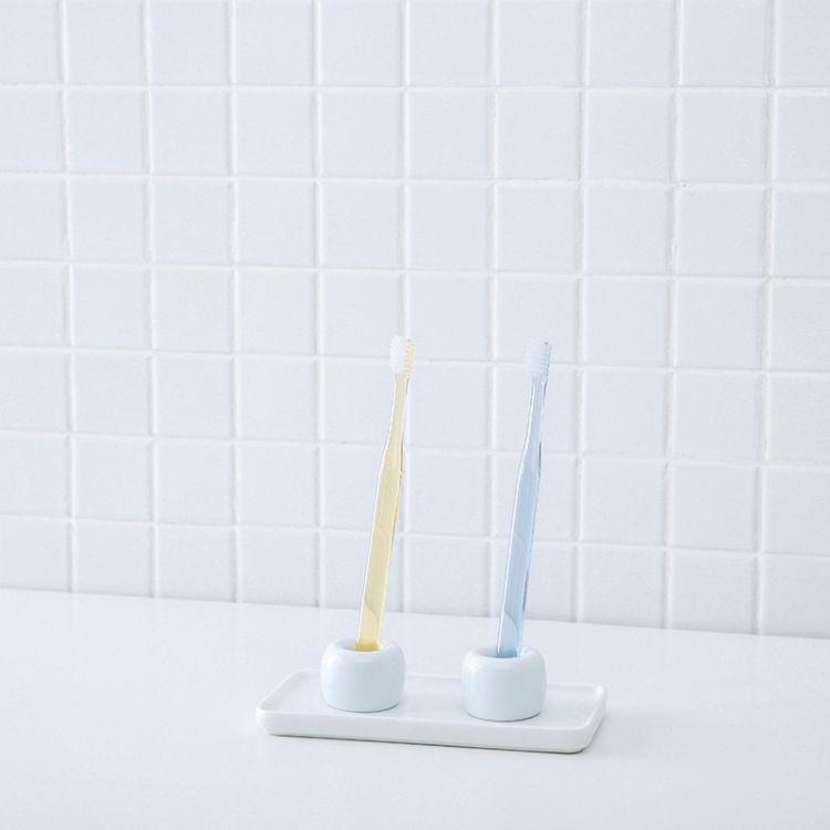 卫浴洗漱用品 日式卫生间收纳托盘浴室长方形牙刷置物架 牙具收纳