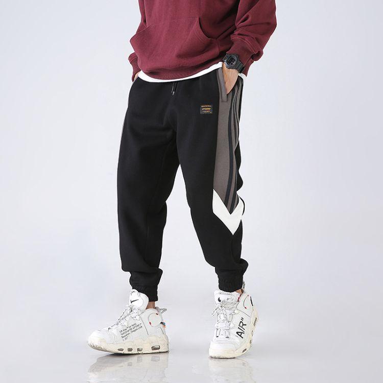 新款侧边拼色时尚运动休闲长裤个性厚卫裤K19 P85无影墙