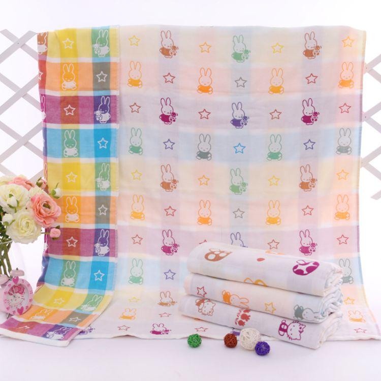 厂家直销鑫优润纯棉纱布三层童被110*110婴幼儿毛巾被儿童童被