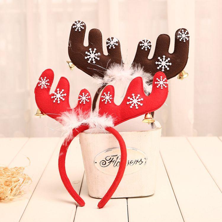 圣诞节装饰品圣诞羽毛铃铛大鹿角圣诞头箍头扣发扣圣诞派对用品