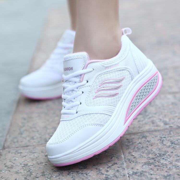 2017夏季新款健步鞋网面透气垫运动鞋跑步鞋坡跟增高摇摇鞋子女鞋