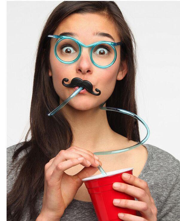 现货供应眼镜吸管趣味胡子眼镜吸管 儿童创意DIY吸管