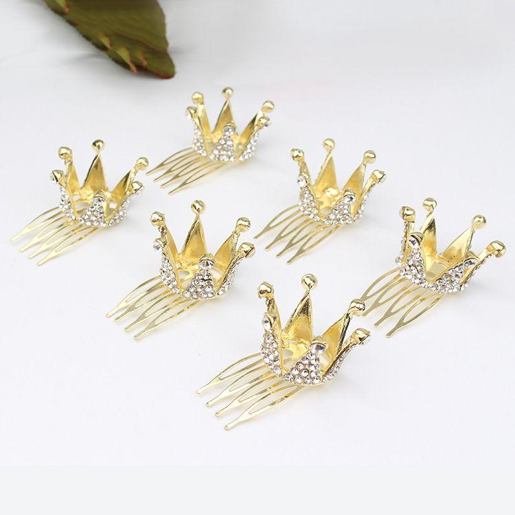 现货新款合金皇冠发箍可爱韩版水钻皇冠女式头箍饰品批发小圆皇冠