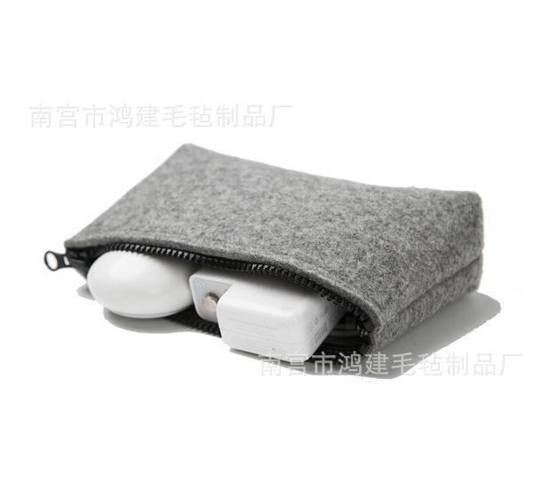 厂家直销 苹果充电器电源鼠标包 羊毛毡数码配件包化妆包 收纳袋
