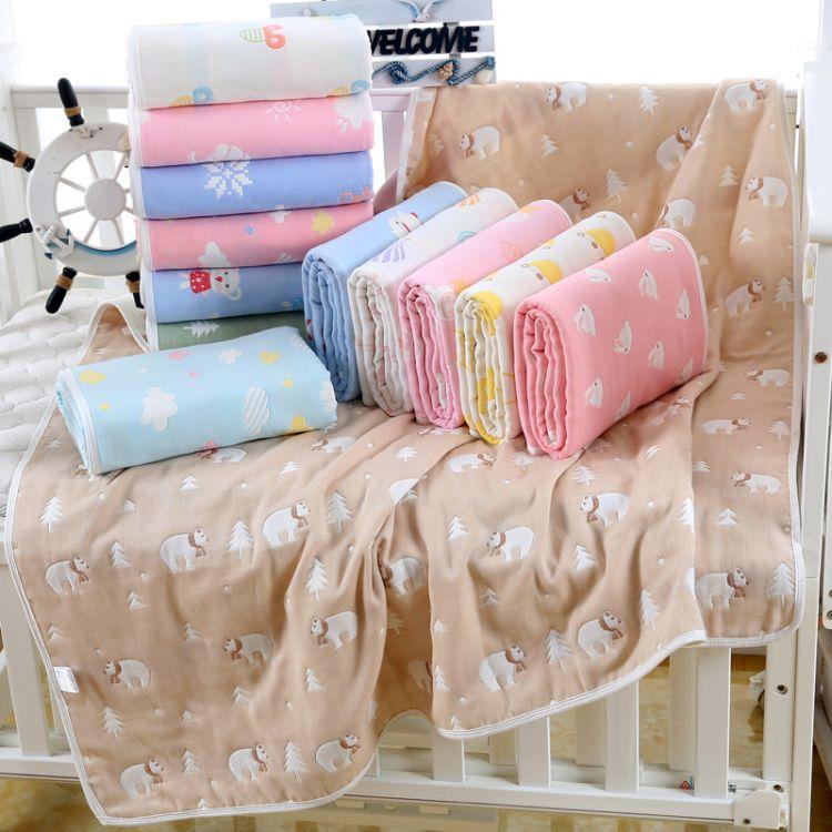 纯棉六层纱布儿童盖毯婴幼儿童被推车被宝宝浴巾防踢被