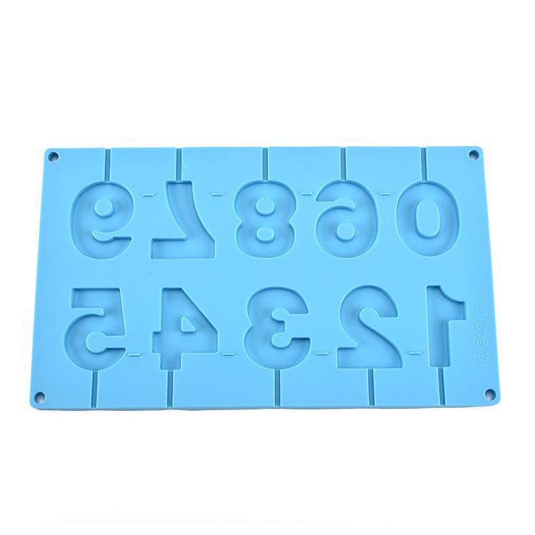 创意硅胶蛋糕模 冰格 10连硅胶数字棒棒糖模 雪糕模具烘焙小工具