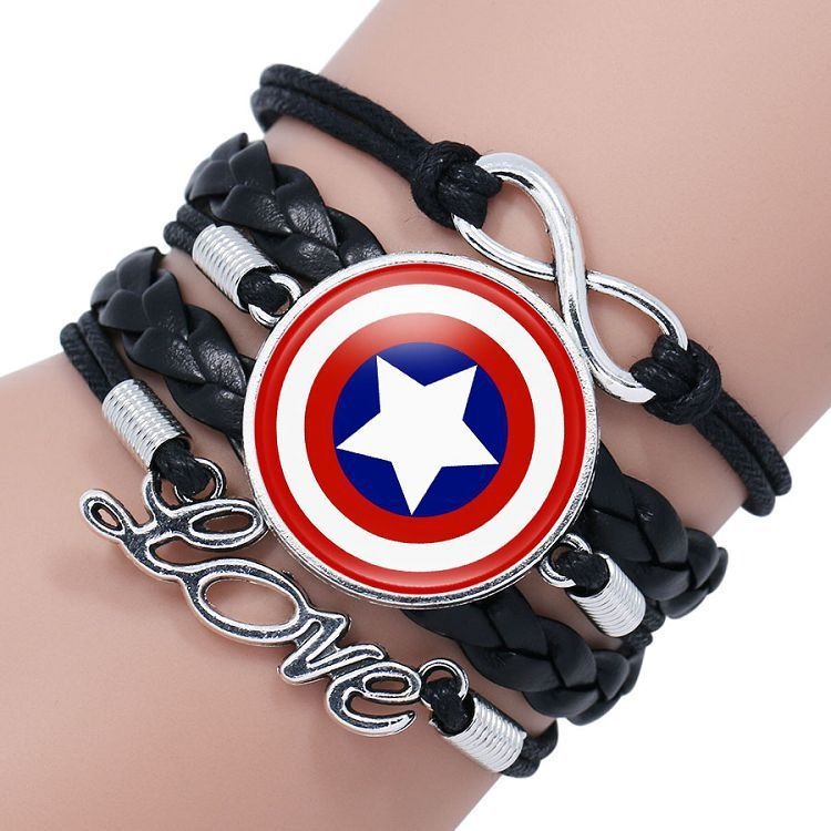 欧美超级英雄超人蜘蛛蝙蝠闪电侠美国队长盾牌时光宝石编织手链