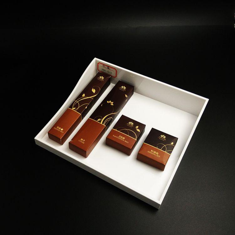 厂家直销亚克力酒店用品托盘  酒店牙具盒 亚克力易耗品盒定制