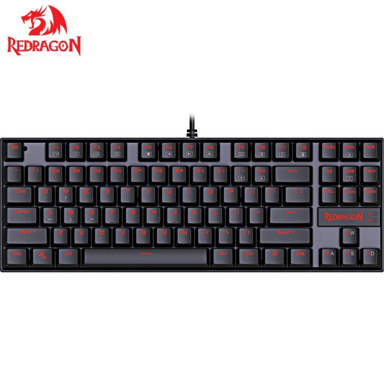 紅龍K552青軸機械游戲鍵盤單色紅光外貿爆款產品跨境專供