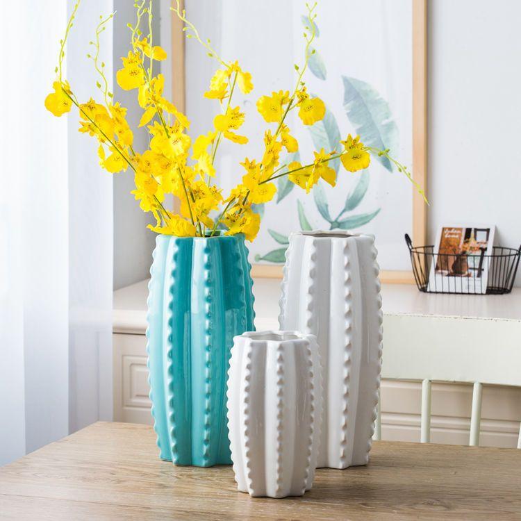 仙人掌创意造型陶瓷花瓶家居客厅酒店装饰摆件高温陶瓷艺术花瓶