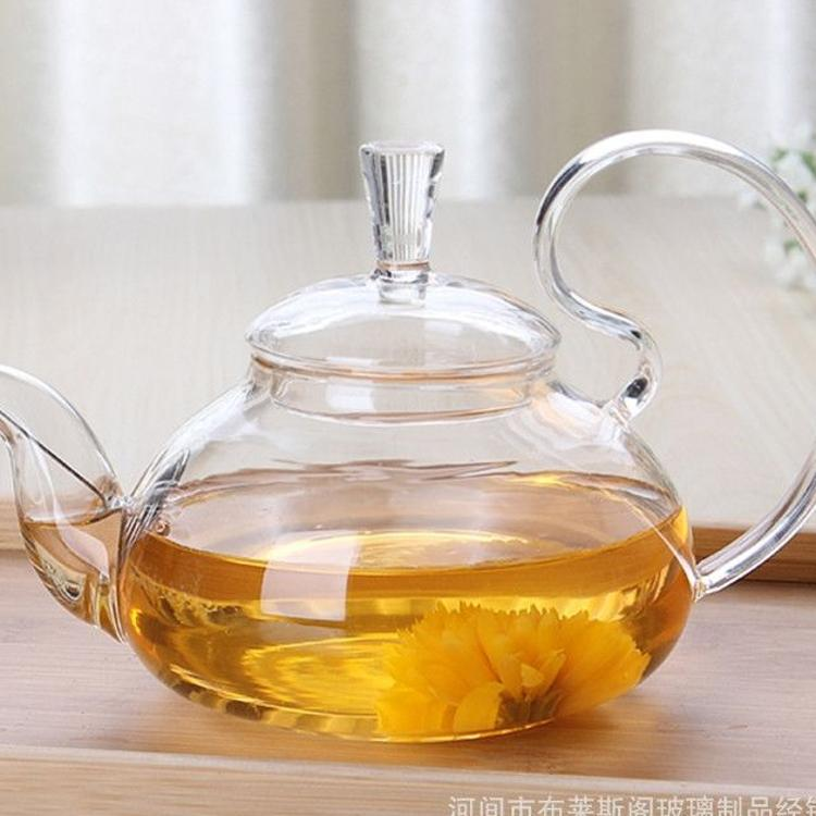耐高温玻璃茶壶 防掉盖松鼠茶壶 壶口带过滤网 高把玻璃茶壶 功夫