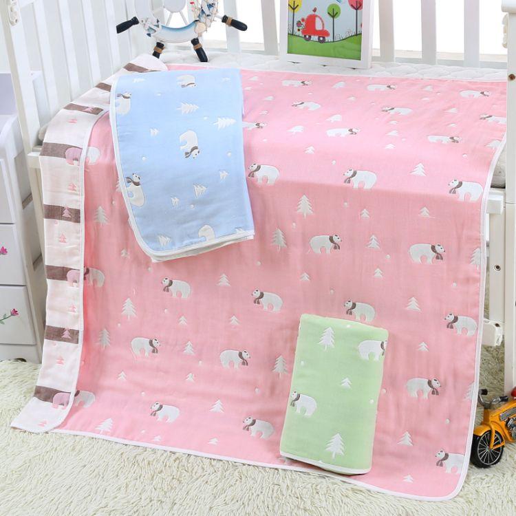 A类6六层纯棉纱布婴幼儿童被 110*110婴儿浴巾新生儿春夏秋盖毯