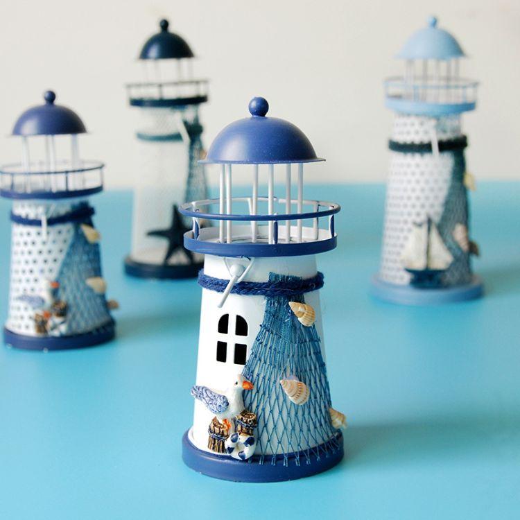 地中海风情 圆孔铁艺灯塔烛台 小号烛台 创意礼品工艺品 灯塔烛台