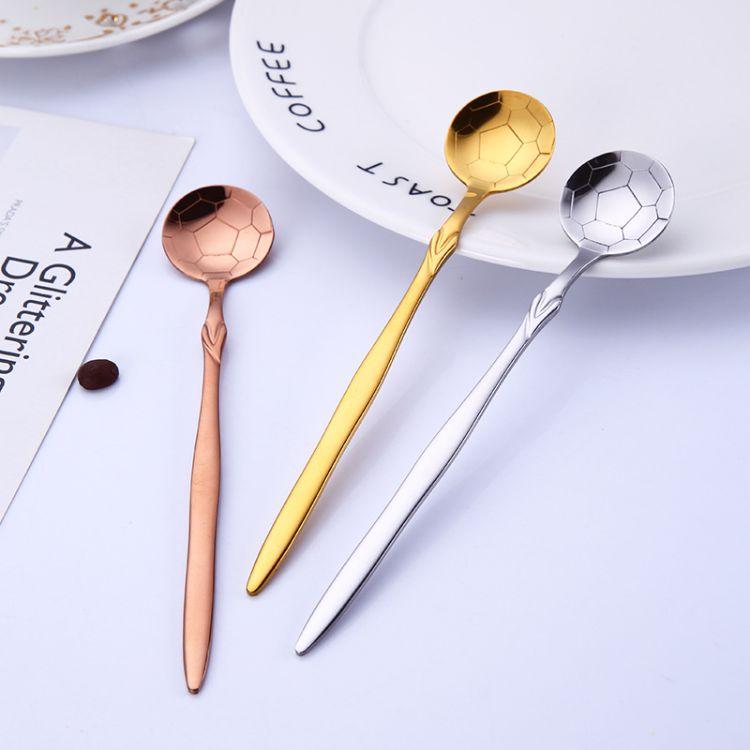 不锈钢世界杯足球冰勺搅拌勺马克杯勺子镀钛不锈钢勺子咖啡勺