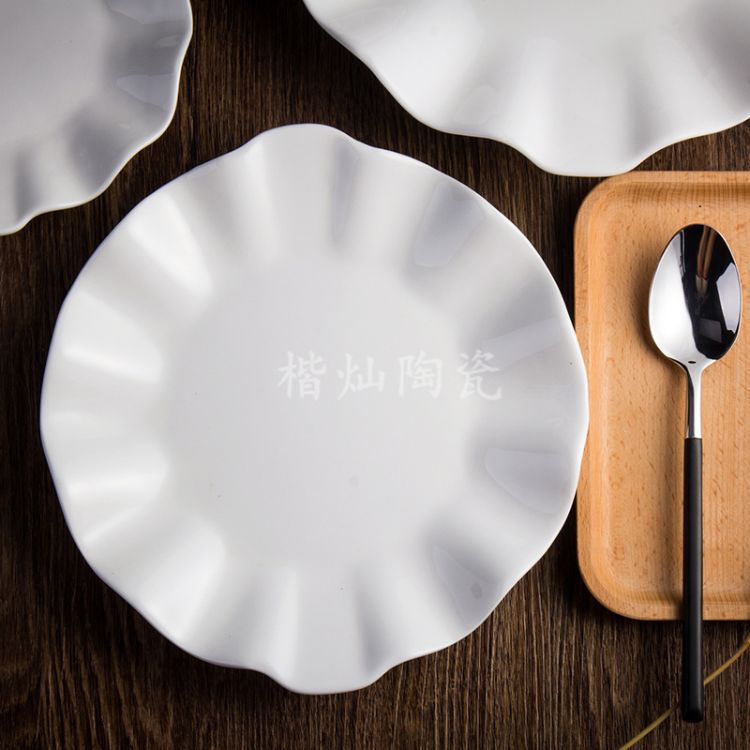 潮州直销酒店用品 骨质陶瓷 后厨餐具 老荷叶 酒店盘 酒店瓷