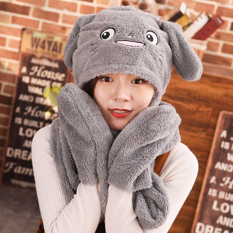 抖音同款兔子耳朵帽子网红同款可爱三件套捏耳朵会动的保暖加绒帽