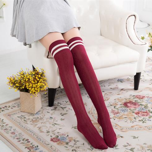 学生秋冬过膝长筒袜针织麻花纹竖条二杠日系堆堆袜批发高筒袜子