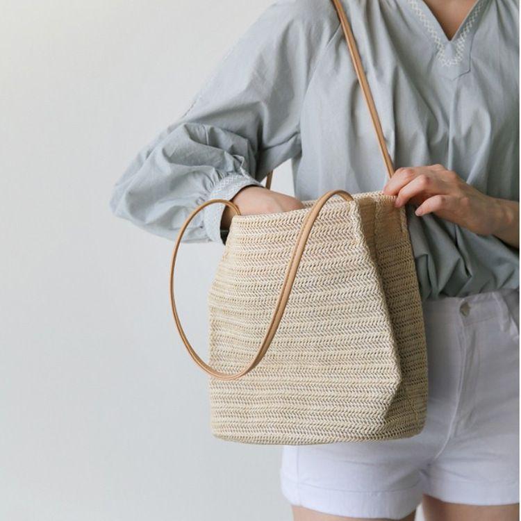 韩国官网同款ins夏季新款草编包时尚百搭手提女包潮流单肩包直销